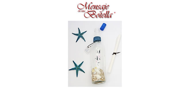 Botella regalo decorada en vidrio